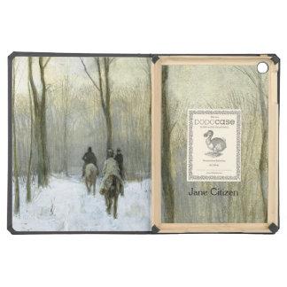 Jinetes en la nieve en el Bos de Haagse, color de