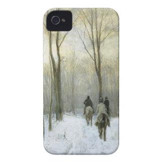Jinetes en la nieve en el Bos de Haagse color de Case-Mate iPhone 4 Funda