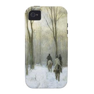 Jinetes en la nieve en el Bos de Haagse color de Vibe iPhone 4 Funda
