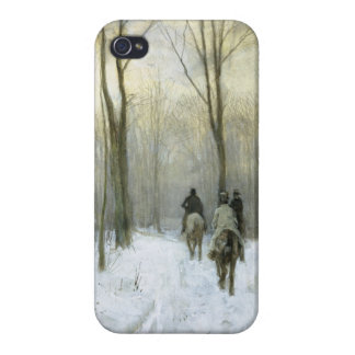 Jinetes en la nieve en el Bos de Haagse color de iPhone 4/4S Carcasa