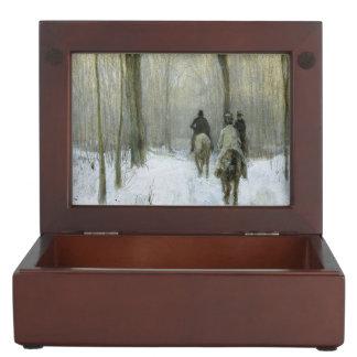 Jinetes en la nieve en la madera de Haagse, color Caja De Recuerdos