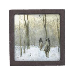 Jinetes en la nieve en la madera de Haagse, color Cajas De Regalo De Calidad