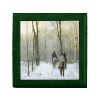 Jinetes en la nieve en la madera de Haagse, color Caja De Joyas