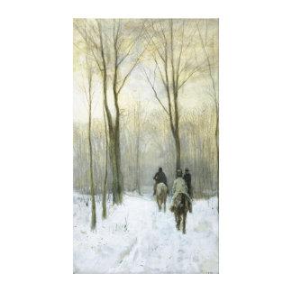 Jinetes en la nieve en la madera de Haagse, color Impresiones En Lienzo Estiradas
