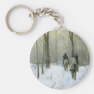 Jinetes en la nieve en la madera de Haagse, color Llavero Redondo Tipo Pin