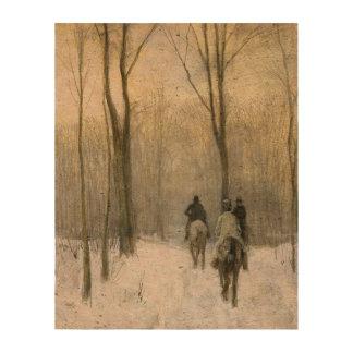 Jinetes en la nieve en la madera de Haagse, color Impresión En Corcho