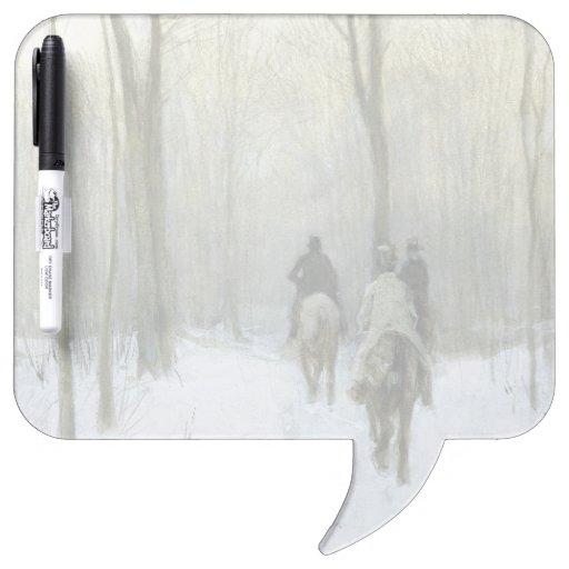 Jinetes en la nieve en la madera de Haagse, color  Tableros Blancos