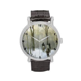 Jinetes en la nieve en la madera de Haagse, color  Relojes De Mano