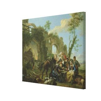 Jinetes que descansan entre ruinas clásicas con un lienzo envuelto para galerías