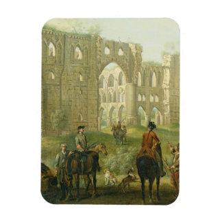 Jinetes que se detienen brevemente por las ruinas  imanes