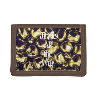 Jingle All the Way Gold Bell Trifold Wallet