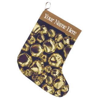Jingle All the Way Gold Large Stockin Large Christmas Stocking