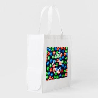 Jingle All the Way Red Blue & Green Reusable Bag