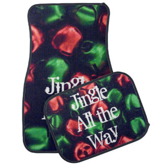 Jingle All the Way Red & Green Bells Car Mat