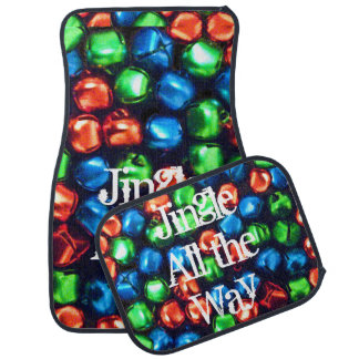 Jingle All the Way Red Green & Blue Bells Floor Mat