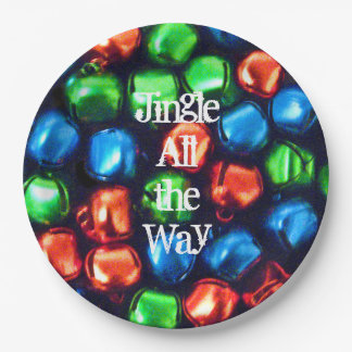 Jingle All the Way Red, Green & Blue Paper Plate