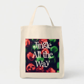 Jingle All the Way Red/Green Organic Grocery Tote