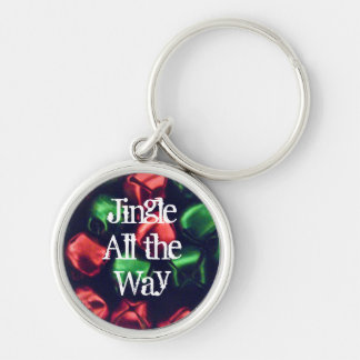 Jingle All the Way Red/Green Prem. Round Keychain