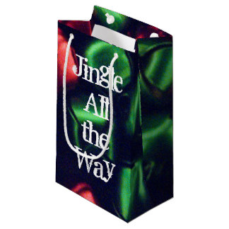 Jingle All the Way Red & Green Small Gift Bag