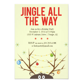 Jingle All The Way Reindeer Holiday Party Invite