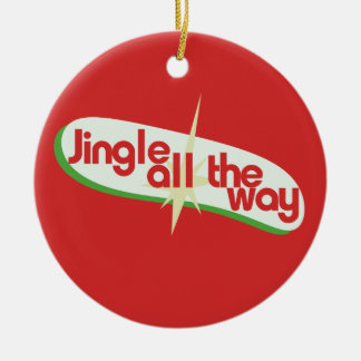 Jingle all the way retro xmas ceramic ornament