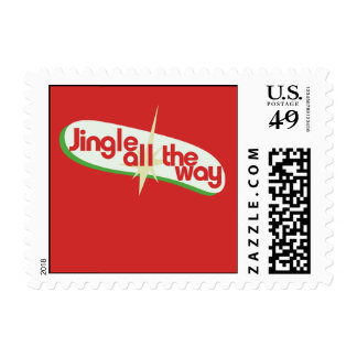 Jingle all the way retro xmas postage