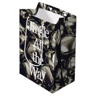 Jingle All the Way Silver Medium Gift Bag