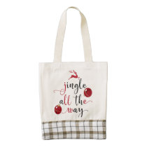 jingle all the way zazzle HEART tote bag