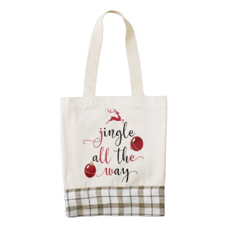 jingle all the way zazzle HEART tote bag