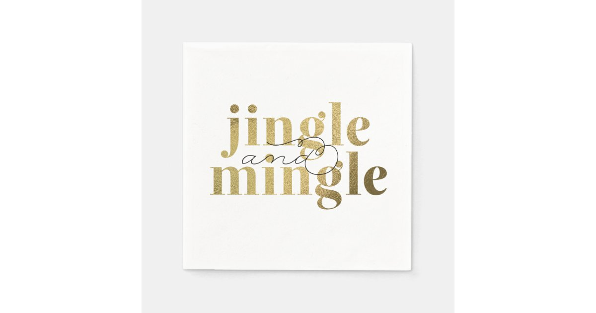 Jingle And Mingle Christmas Holiday Party Paper Napkin