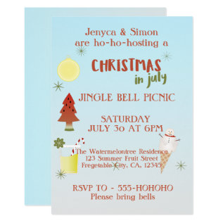 Jingle Bell Picnic Christmas In July Invite at Zazzle