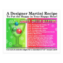 Jingle Bells Christmas Martini Recipe Postcard