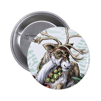 """Jingle Bells"" Christmas reindeer pin 2 Inch Round Button"