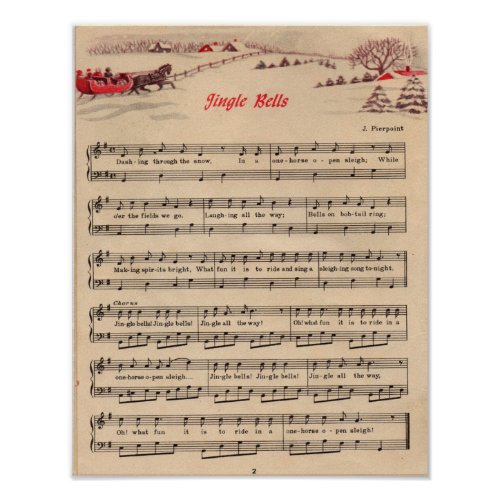 Jingle Bells Christmas Vintage Sheet Music