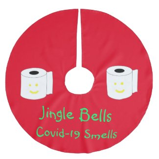 Jingle Bells Covid-19 Smells Brushed Polyester Tree Skirt