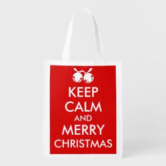Jingle Bells Grocery Bag Keep Calm and Merry Xmas