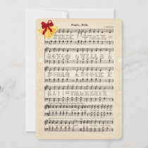 Jingle Bells Vintage Sheet Music, Gold Bells Red Holiday Card