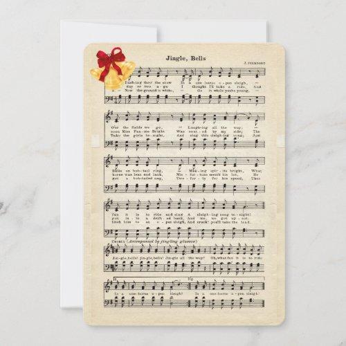 Jingle Bells Vintage Sheet Music, Gold Bells Red