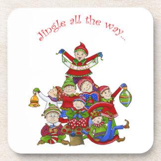 Jingle Elves (Set two) Beverage Coaster