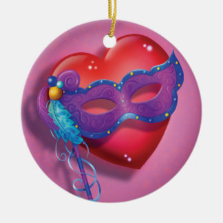 Jingle Jingle Little Gnome Heart Mask Ornament
