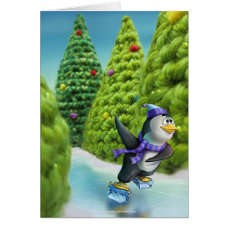 Jingle Jingle Little Gnome Skating Penguin Card