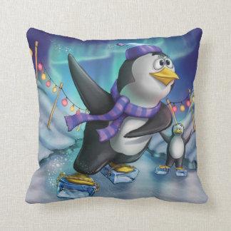Jingle Jingle Little Gnome Skating Penguin Pillow