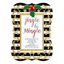 Jingle & Mingle Christmas Party Glitter Invitation