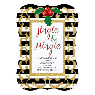 Jingle & Mingle Christmas Party Glitter Invitation