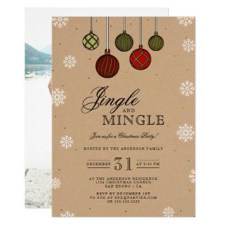 Jingle & Mingle | Photo & Baubles Christmas Party Card