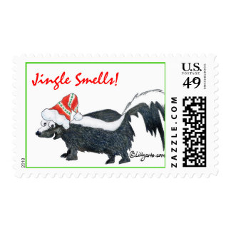 Jingle Smells Cartoon Skunk Stamp
