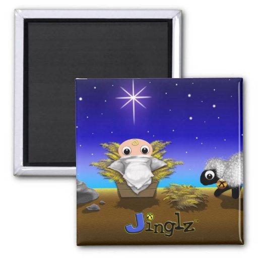 Jinglz™ Jingle Bell Lamb & Baby Jesus magnet