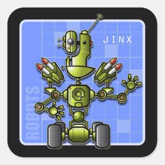 Jinx el robot pegatina cuadrada