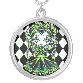 Jinxy Harlequin Green Jester Pixie Necklace