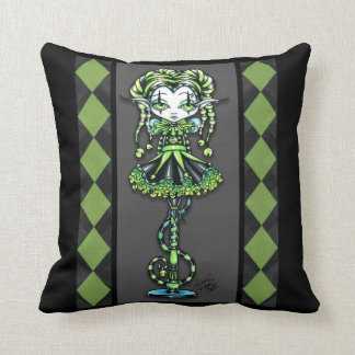 Jinxy Harlequin Green Jester Pixie Pillow